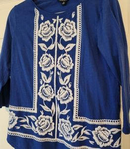 Lucky Brand Womens Embroidered Boho Top